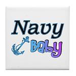 Navy Baby blue anchor Tile Coaster