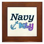 Navy Baby blue anchor Framed Tile
