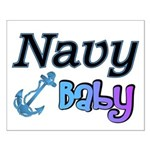 Navy Baby blue anchor Small Poster