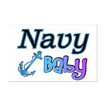 Navy Baby blue anchor  Mini Poster Print