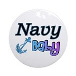 Navy Baby blue anchor Ornament (Round)