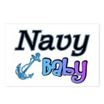 Navy Baby blue anchor Postcards (Package of 8)