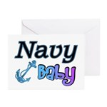 Navy Baby blue anchor Greeting Cards (Package of
