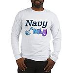 Navy Baby blue anchor Long Sleeve T-Shirt