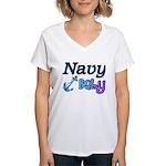 Navy Baby blue anchor Women's V-Neck T-Shirt