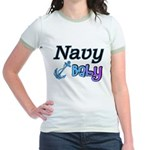 Navy Baby blue anchor Jr. Ringer T-Shirt