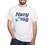 Navy Baby blue anchor White T-Shirt