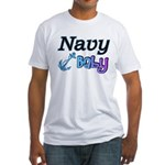 Navy Baby blue anchor Fitted T-Shirt