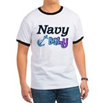 Navy Baby blue anchor Ringer T