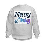 Navy Baby blue anchor Kids Sweatshirt