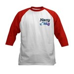 Navy Baby blue anchor Kids Baseball Jersey