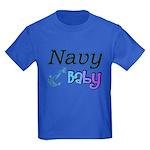 Navy Baby blue anchor Kids Dark T-Shirt