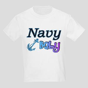 Navy Baby blue anchor Kids Light T-Shirt
