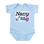 Navy Baby blue anchor Infant Bodysuit