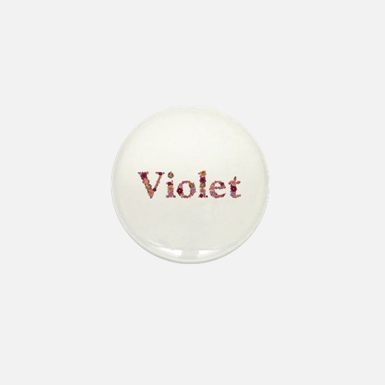 Violet Pink Flowers Mini Button