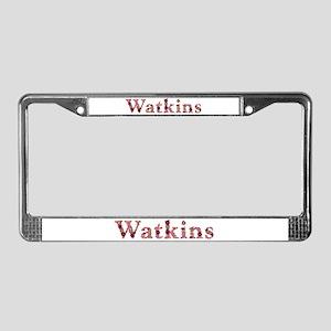 Watkins Pink Flowers License Plate Frame