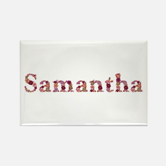 Samantha Pink Flowers Rectangle Magnet