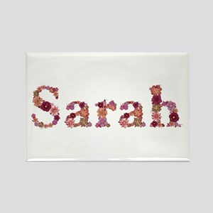 Sarah Pink Flowers Rectangle Magnet