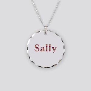 Sally Pink Flowers Necklace Circle Charm