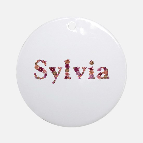 Sylvia Pink Flowers Round Ornament