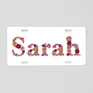 Sarah Pink Flowers Aluminum License Plate