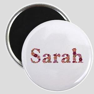Sarah Pink Flowers Round Magnet