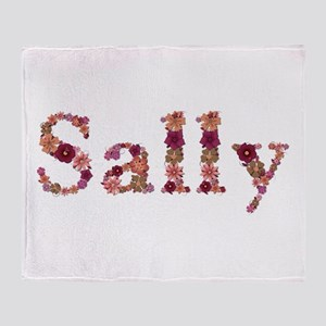 Sally Pink Flowers Throw Blanket