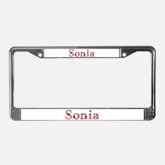 Sonia Pink Flowers License Plate Frame