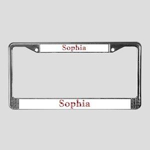 Sophia Pink Flowers License Plate Frame