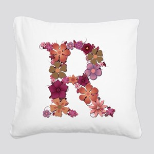 R Pink Flowers Square Canvas Pillow