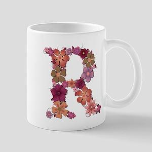 R Pink Flowers Mugs