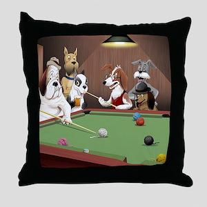 Cartoon Dogs Playing Pool Throw Pillow