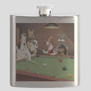 Cartoon Dogs Playing Pool Flask