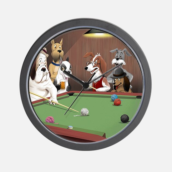 Cartoon Dogs Playing Pool Wall Clock
