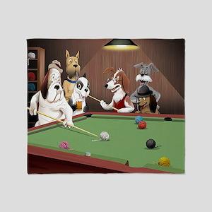 Cartoon Dogs Playing Pool Throw Blanket