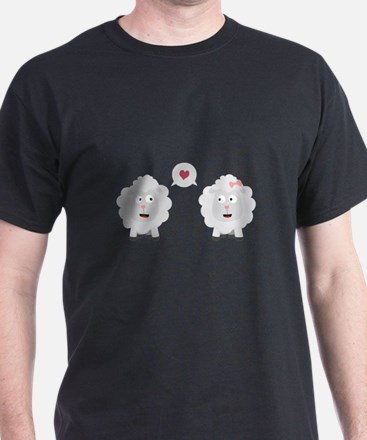 Sheeps in love with heart C7b4v T-Shirt