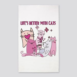 Lifes Better With Cats 3'x5' Area Rug