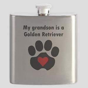 My Grandson Is A Golden Retriever Flask