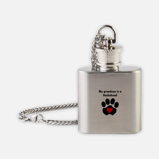 My Grandson Is A Dachshund Flask Necklace