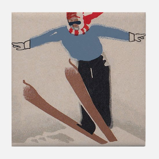 Skier, Ski Jump, Vintage Poster Tile Coaster