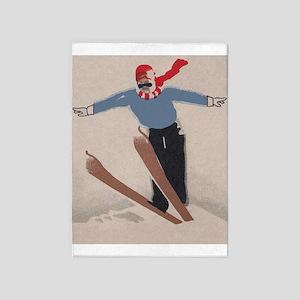 Skier, Ski Jump, Vintage Poster 5'X7'area Rug