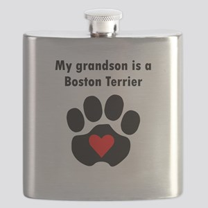 My Grandson Is A Boston Terrier Flask