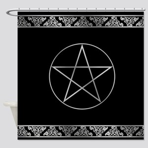 Silver Wiccan Pentacle Shower Curtain