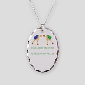 Wrestling World Design Necklace Oval Charm