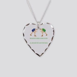 Wrestling World Design Necklace Heart Charm