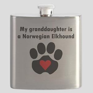 My Granddaughter Is A Norwegian Elkhound Flask