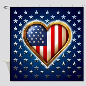 US Heart Design Shower Curtain