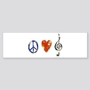 3-peacelovemusicdistressed Bumper Sticker