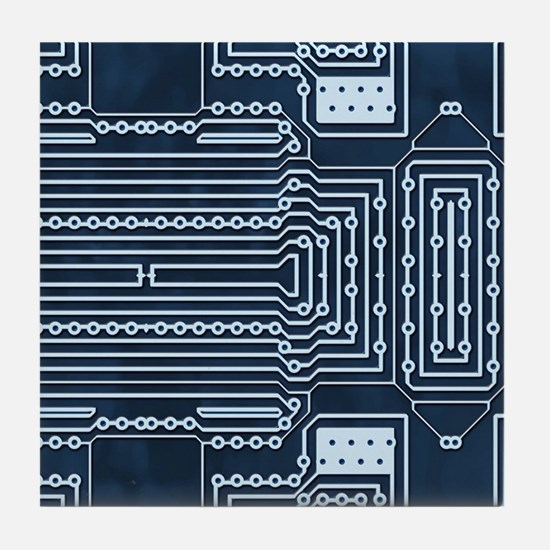 Blue Geek Motherboard Circuit Pattern Tile Coaster
