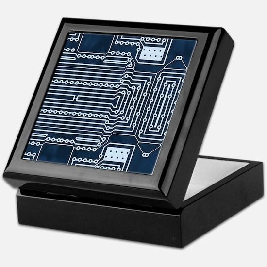 Blue Geek Motherboard Circuit Pattern Keepsake Box
